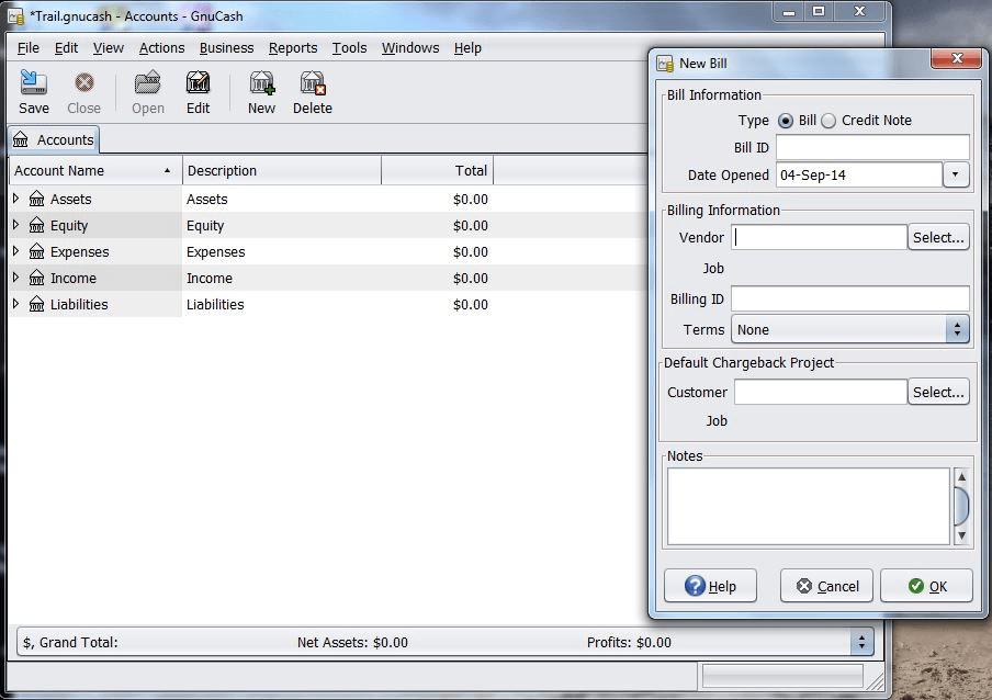 Gnu Cash free bookkeeping  software